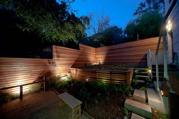 Retaining wall lit up from within, for accented evening illumination.