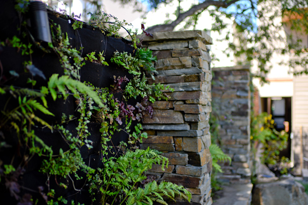 Green wall set between stacked-stone columns.