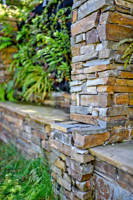 Stacked stone columns.
